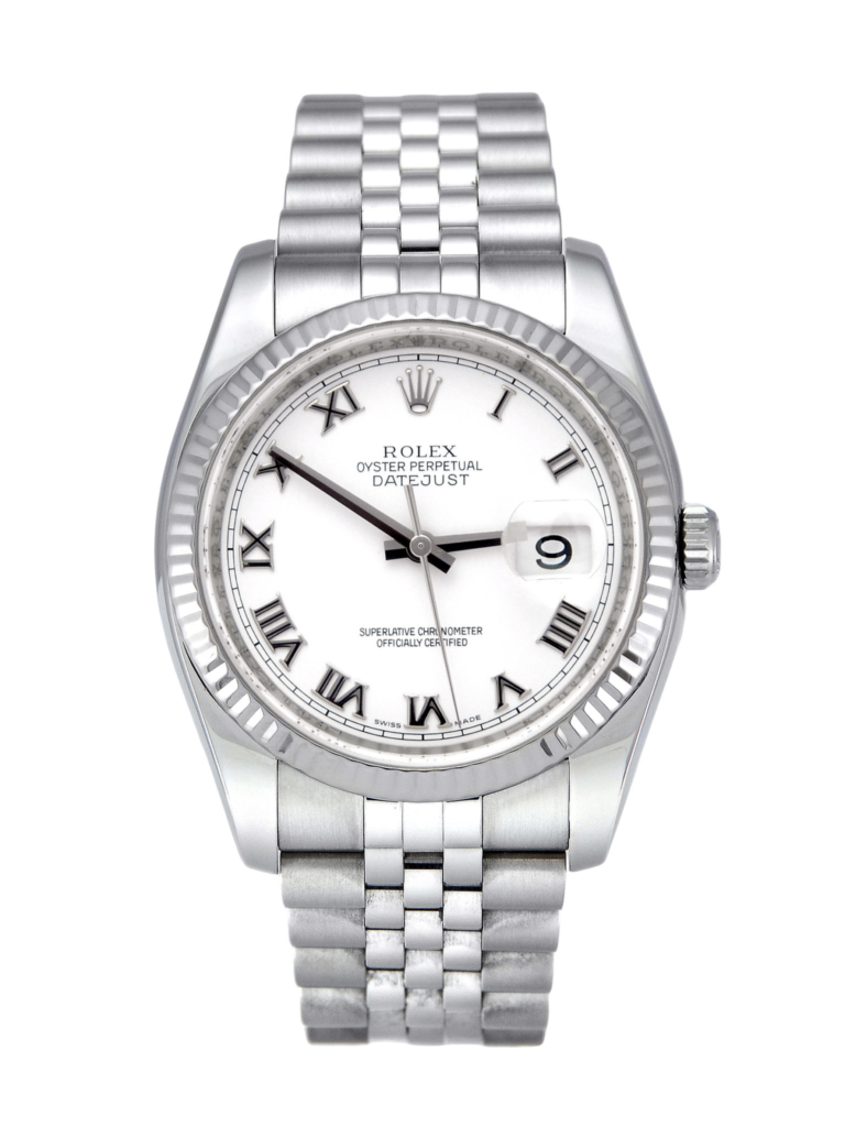 Rolex Datejust 116234 with a white roman numeral dial, presented on a jubilee bracelet