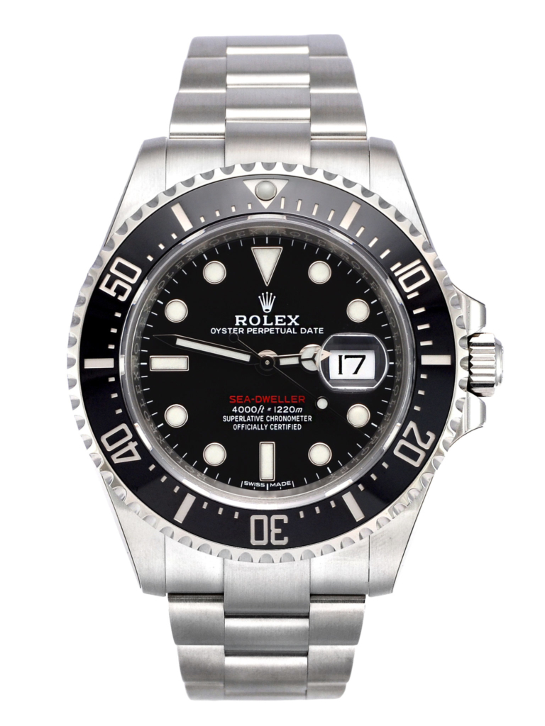 """Front view image of a brand new old stock 2017 Rolex Sea-Dweller 126600 """"Red Writing"""""""