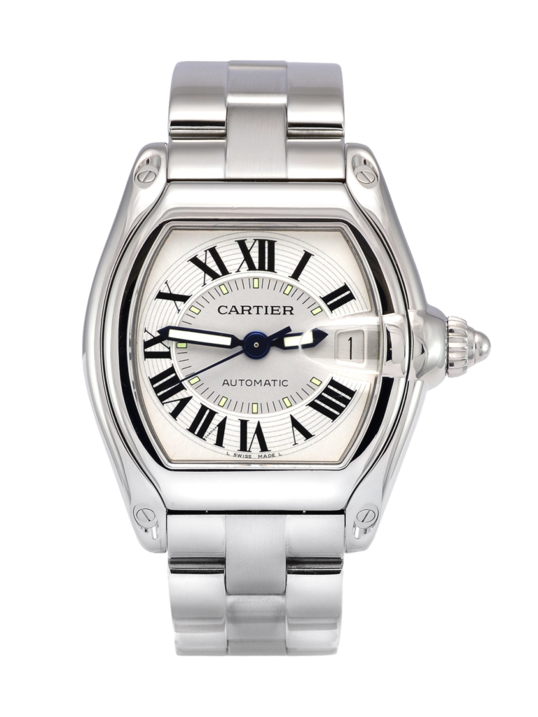 A front view image of a previously owned Cartier Roadster 2510 with a silver dial