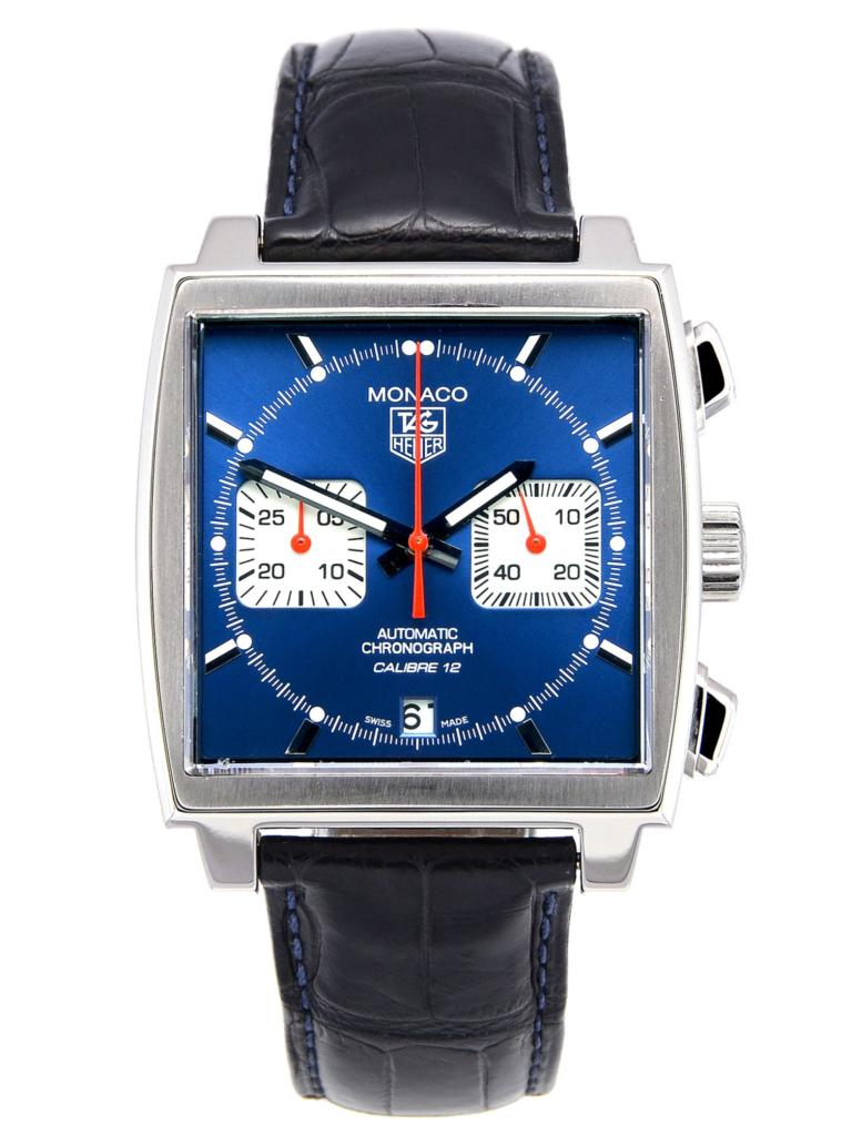 A front view image of a second hand TAG Heuer Monaco Calibre 12 CAW2111.FC6183