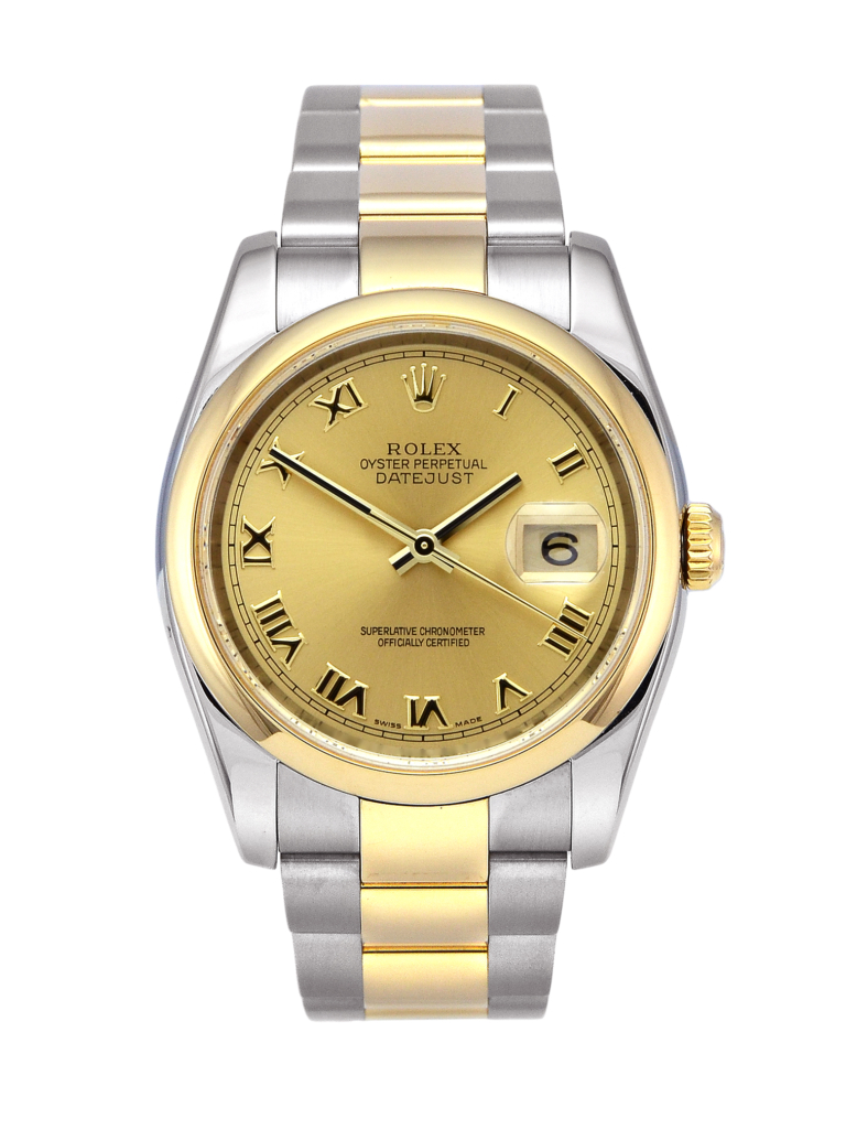 Rolex Datejust 116203 in stainless steel & yellow gold with a champagne Roman numeral dial (front view)