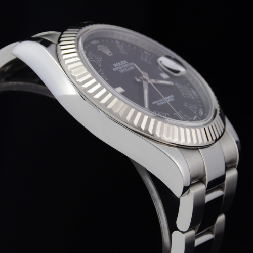 Detailed image of a case side of a unique 2012 golf competition trophy Rolex Datejust II 116334 with a dark grey Roman numeral dial, on an Oyster bracelet