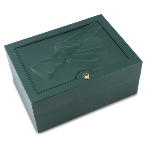 A unique golf themed Rolex display box included with the Rolex Datejust II 116334