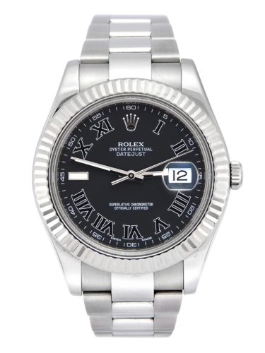 Front view image of a unique 2012 golf competition trophy Rolex Datejust II 116334 with a dark grey Roman numeral dial, on an Oyster bracelet