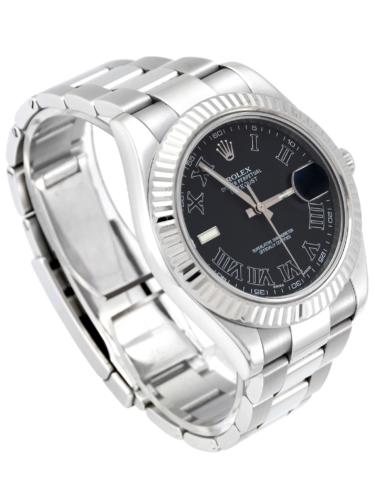 Side view image of a unique 2012 golf competition trophy Rolex Datejust II 116334 with a dark grey Roman numeral dial, on an Oyster bracelet