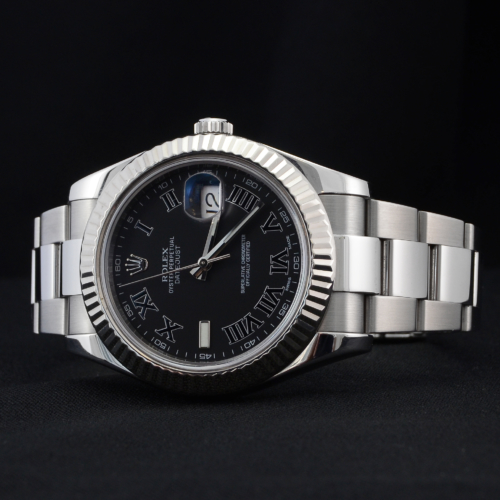 Detailed image of a unique 2012 golf competition trophy Rolex Datejust II 116334 with a dark grey Roman numeral dial, on an Oyster bracelet