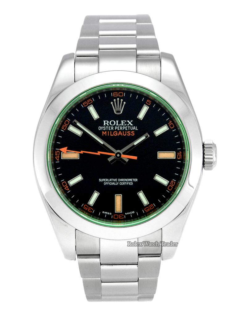 Rolex Milgauss 116400GV SERVICED BY ROLEX Black Dial Green Glass