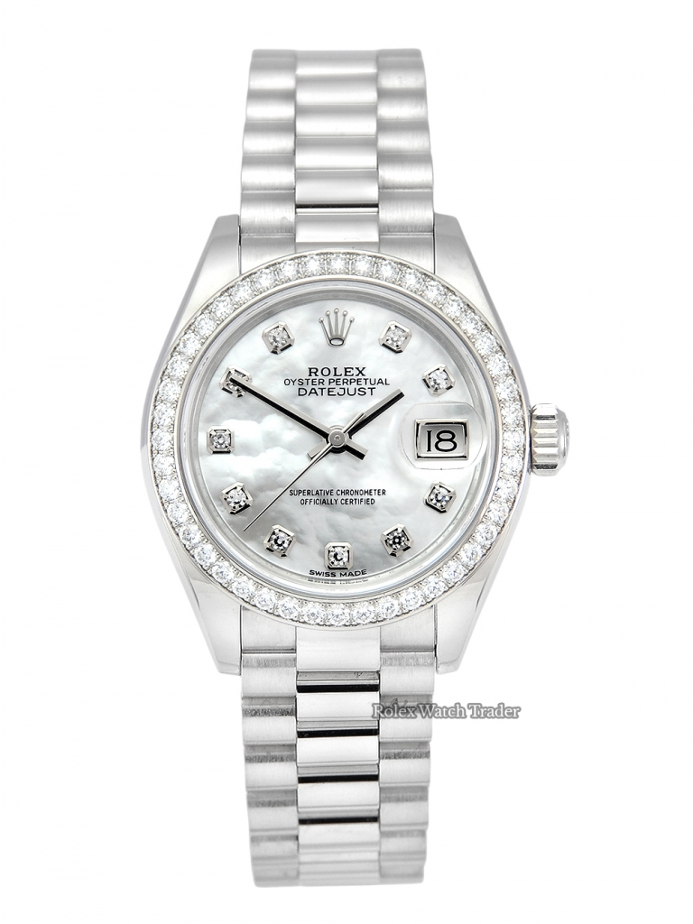 Rolex Lady-Datejust 279136RBR 28mm Platinum MOP Rolex Gem Set