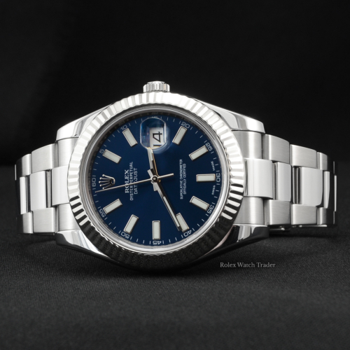 Rolex Datejust II 41mm 116334 SERVICED BY ROLEX with Stickers Blue Baton Dial