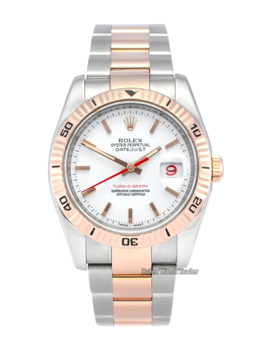 Rolex Datejust Turn-O-Graph 116261 Bimetal Rose Gold Red Date Watch Only Buy Pre-Owned Watch