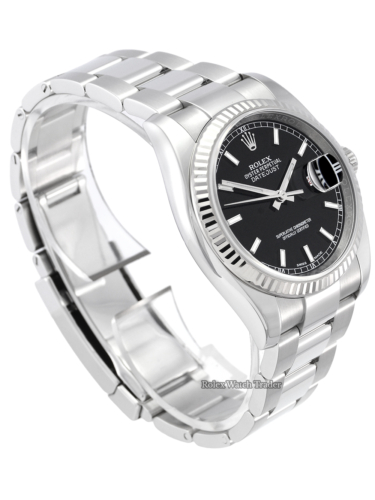 Rolex Datejust 36mm 116234 Black Baton Roulette Date Box & Papers For Sale Second Hand