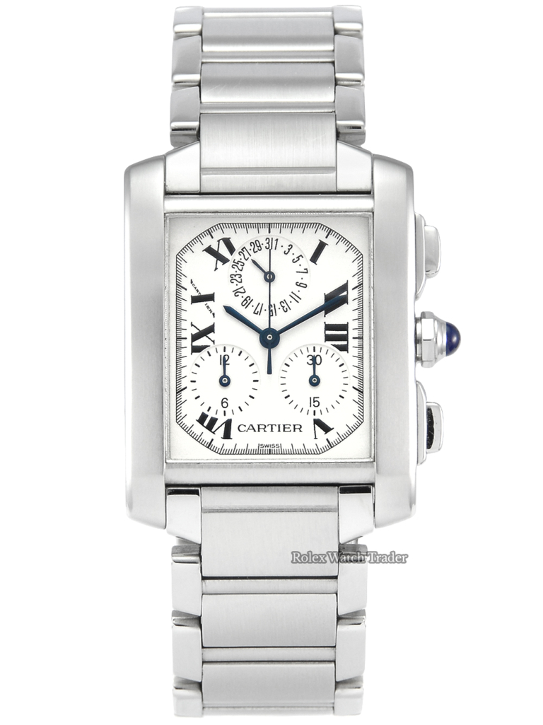 Cartier Tank Francaise XL 2303 Service History Stainless Steel White Roman Numeral Dial For Sale Second Hand Available Now