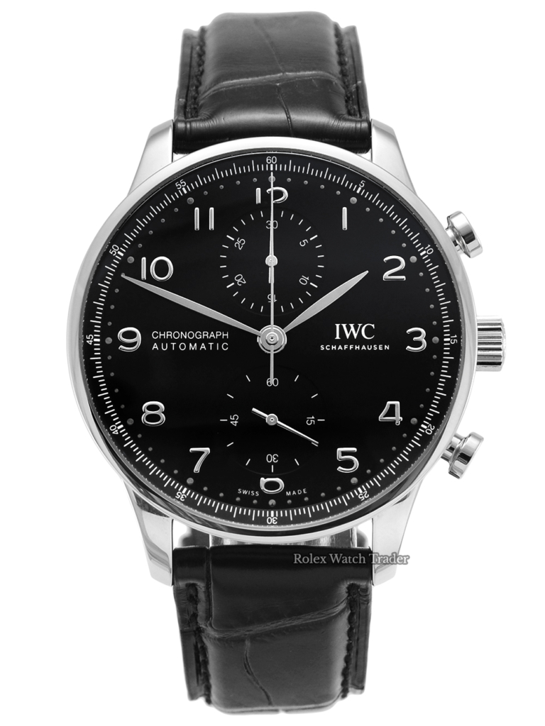 IWC Chronograph Portuguese IW371609 Black Dial Black Leather Strap