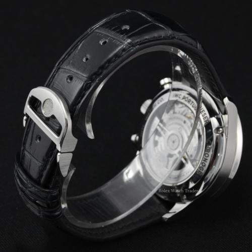 IWC Chronograph Portuguese IW371609 Black Dial Black Leather Strap