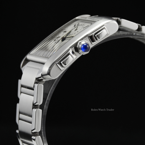 Cartier Tank Francaise XL 2303 Service History Stainless Steel White Roman Numeral Dial