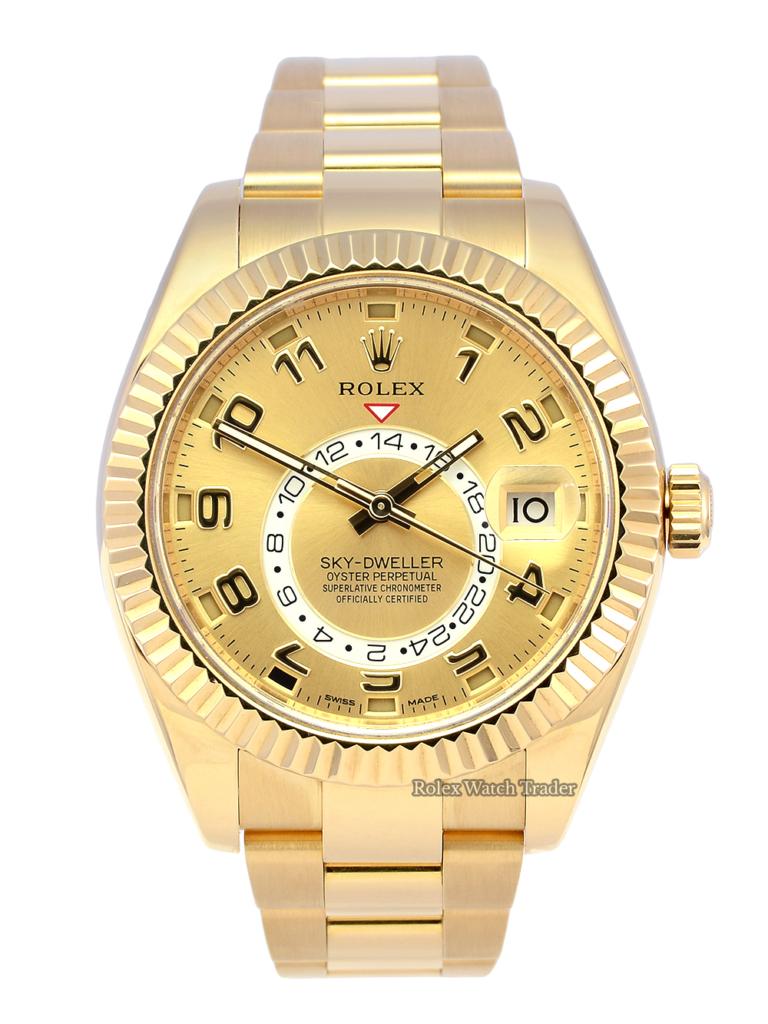 Rolex Sky-Dweller 326938 Yellow Gold Champagne Arabic Dial
