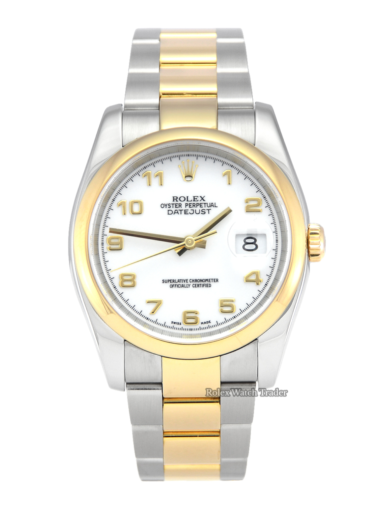 Rolex Datejust 116203 36mm Bimetal Steel & Gold White Arabic Dial