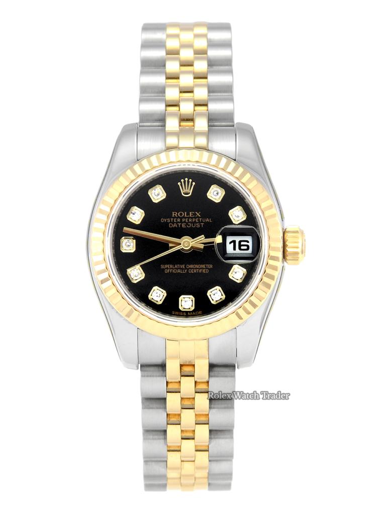 Rolex Lady-Datejust 179173 26mm Bi-Metal Factory Diamond Dial Serviced by Rolex