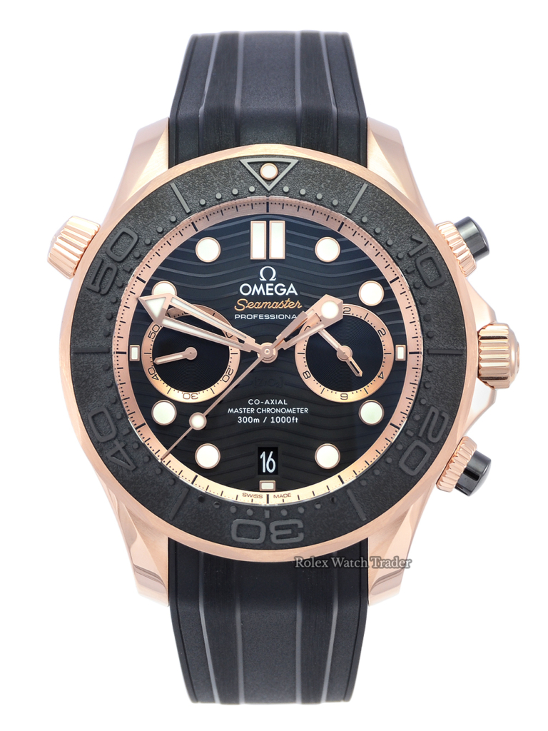 For Sale Brand New Unworn Omega Seamaster Diver 300m Sedna Gold Co-Axial Chronograph 44mm 210.62.44.51.01.001 Rose Gold Rubber Strap