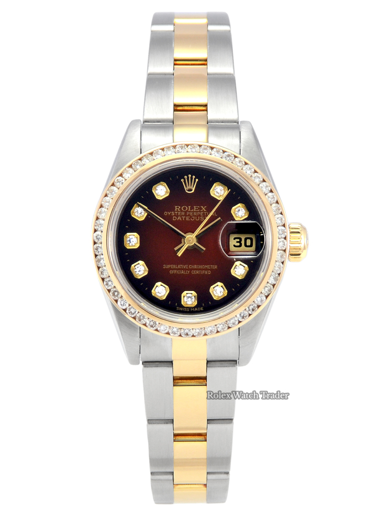 For Sale Pre-Owned Authentic Genuine Rolex Lady-Datejust 79163 26mm Red Vignette Diamond Dot Dial Diamond Bezel Steel Gold