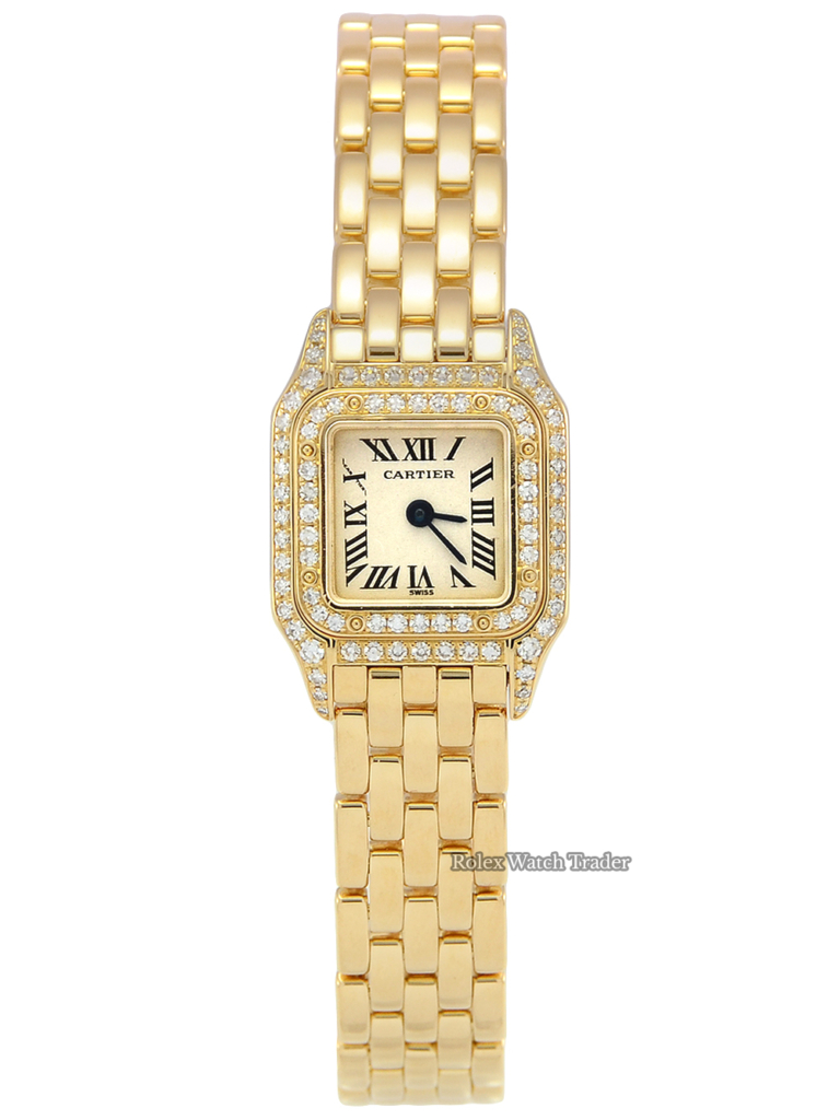 Cartier Mini Panthère WF3141B9 17mm Yellow Gold Factory Gem Set Double Row Diamonds Gold Women's Ladies' Watch For Sale Available Buy
