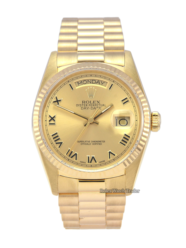Rolex Day-Date 18038 Yellow Gold 1980s Pre-Owned Excellent Condition For Sale Buy Today Manchester North West UK President Bracelet Champagne Roman Numeral Dial