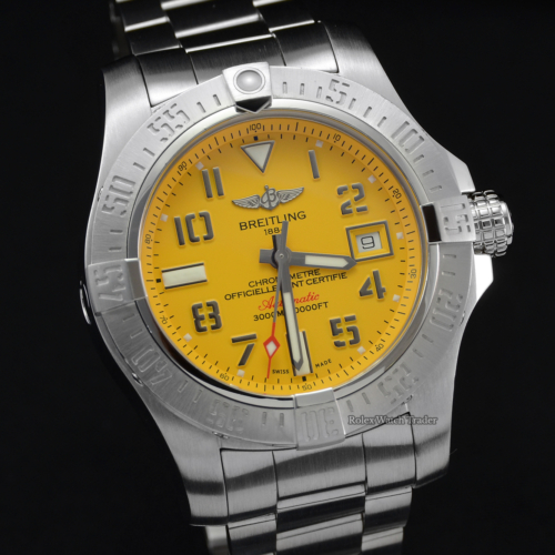 Breitling Avenger II Seawolf A17331 Cobra Yellow Dial For Sale Pre-Owned Used Second Hand Stainless Steel 2019 Box & Papers Including 2 Years Warranty