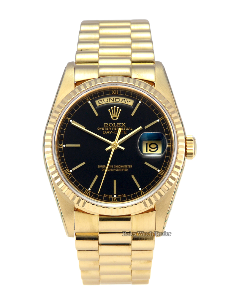 Rolex Day-Date President 18238 SERVICED BY ROLEX 36mm Yellow Gold Black Dial Pre-Owned Second Hand Excellent Condition Used Black Dial Yellow Gold Stunning DayDate DD 36mm For Sale Available to Purchase Today