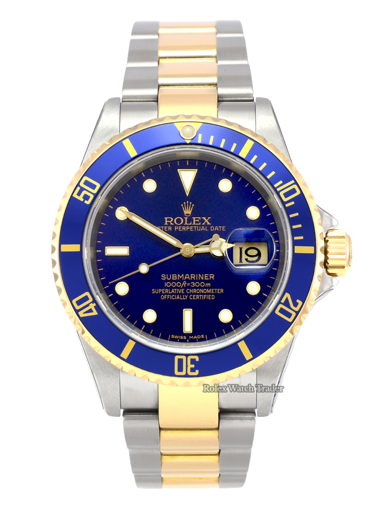 Rolex Submariner Date 16613 SERVICED BY ROLEX UK 2007 Bimetal Stainless Steel Yellow Gold Blue Dial For Sale Pre-Owned Mint Unworn Excellent Condition Manchester North West UK