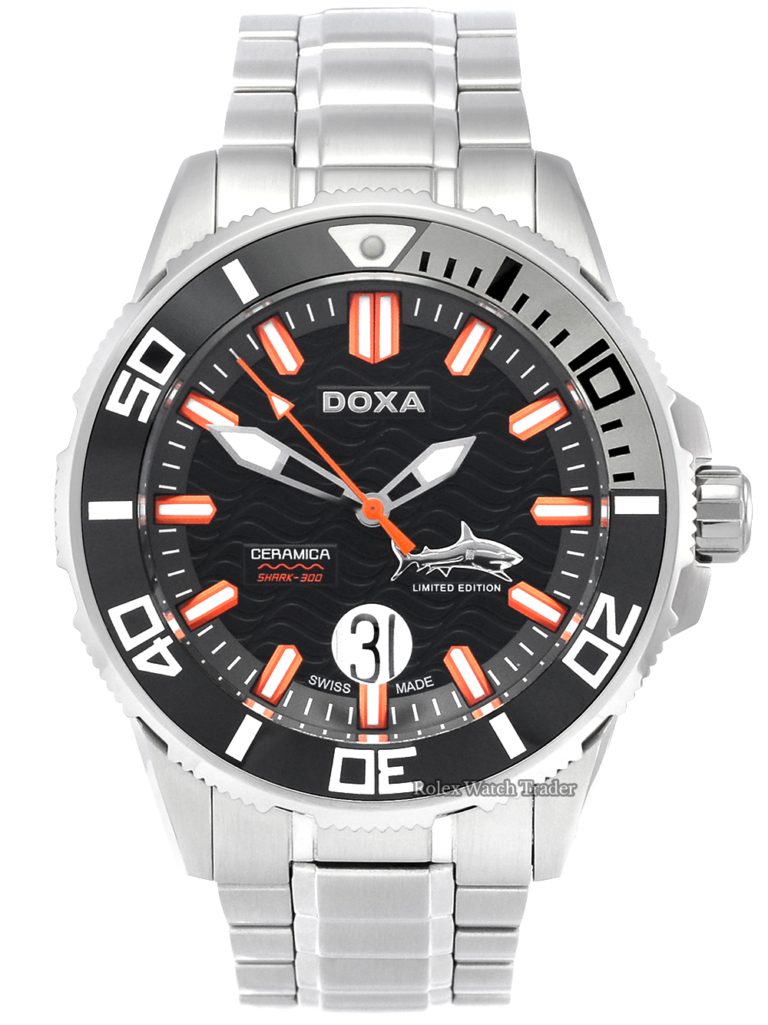 Doxa Shark Ceramica XL D196SGY Limited Edition 0275/2000 Pre-Owned Unworn Condition Stainless Steel Watch Black Dial Ceramic Bezel For Sale in Manchester North West UK Available Instantly