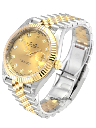 Rolex Datejust 126333 41mm Champagne Diamond Dot Dial 2020 Bimetal For Sale Available Pre-Owned in Excellent Condition Box & Papers Diamonds Stunning Men's Rolex Watch