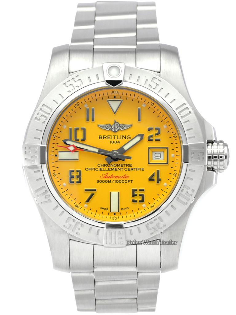 Breitling Avenger II Seawolf A1733110 Cobra Yellow Dial For Sale Pre-Owned Used Second Hand Stainless Steel 2019 Box & Papers Including 2 Years Warranty
