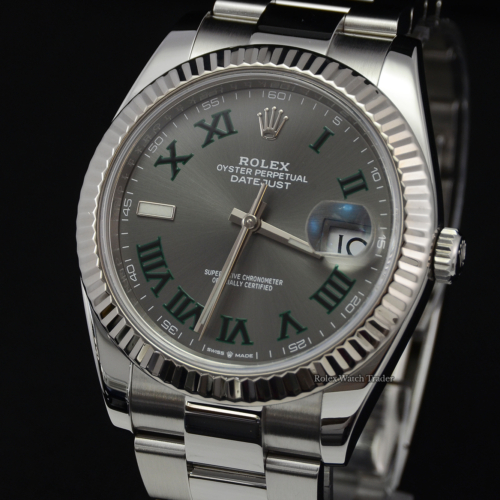 Rolex Datejust 126334 Wimbledon Slate Dial 41 UK 2020 Stainless Steel For Sale Pre-Owned Excellent Condition Oyster Bracelet Box & Papers For Sale in Manchester North West England UK Free Next Day Delivery to the UK and Worldwide