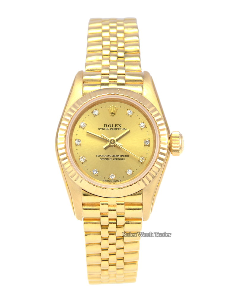 Rolex Oyster Perpetual 67198 SERVICED BY ROLEX Yellow Gold Diamond Dot Pre-Owned Serviced 2 Year Warranty For Sale Available Purchase Online with Part Exchange or Direct Sale Manchester North West England UK Great Britain Buy Today