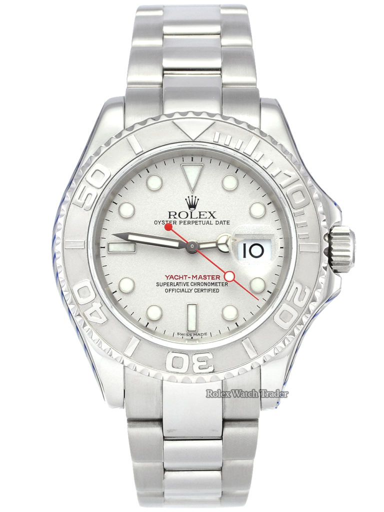 Rolex Yacht-Master 16622 SERVICED BY ROLEX 40mm Platinum Bezel Pre-Owned Used Second Hand For Sale Available Purchase Online with Part Exchange or Direct Sale Manchester North West England UK Great Britain Buy Today