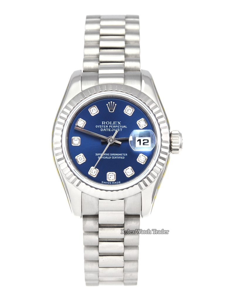 Rolex Lady-Datejust 179179 SERVICED BY ROLEX UK 2005 Full Set White Gold Unworn Pre-Owned Second Hand Mint Condition For Sale Available Purchase Online with Part Exchange or Direct Sale Manchester North West England UK Great Britain Buy Today
