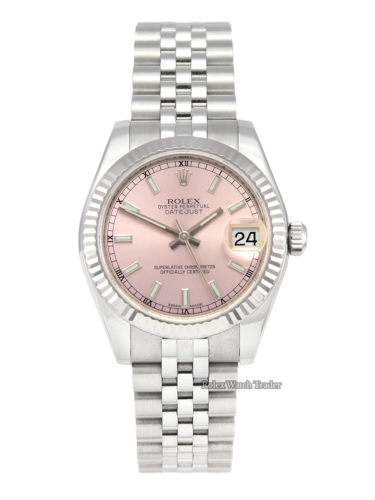 Rolex Datejust 178274 31mm Pink Dial Lady-Datejust Pre-Owned Used Second Hand Mint Condition Excellent Condition Jubilee Bracelet Concealed Clasp Crownclasp For Sale in Manchester North West England UK Available Today 1 Year Warranty & Free Delivery