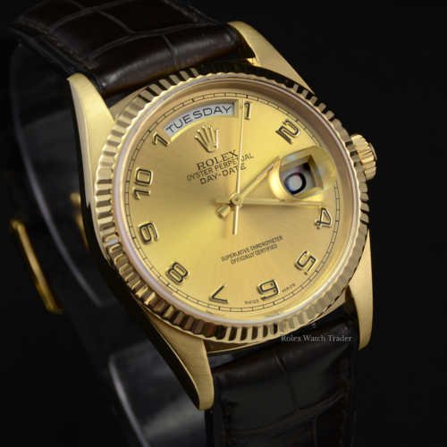 Rolex Day-Date 18248 36mm SERVICED Yellow Gold Leather Strap Pre-Owned Stunning Best Deal on Rolex Day Date For Sale Available Purchase Online with Part Exchange or Direct Sale Manchester North West England UK Great Britain Buy Today