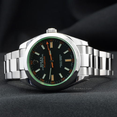 Rolex Milgauss 116400GV SERVICED BY ROLEX Black Dial Unworn with Stickers Pre-Owned Second Hand For Sale Available Purchase Online with Part Exchange or Direct Sale Manchester North West England UK Great Britain Buy Today
