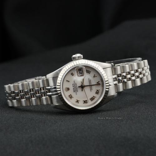 Rolex Lady-Datejust 79174 Pearlescent Web Pattern Roman Numeral Dial Pre-Owned MOP Used Second Hand For Sale Available Purchase Online with Part Exchange or Direct Sale Manchester North West England UK Great Britain Buy Today