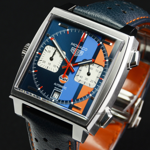 TAG Heuer Monaco Chronograph Calibre 11 Gulf CAW211R Pre-Owned Second Hand Blue and Orange For Sale Available Purchase Online with Part Exchange or Direct Sale Manchester North West England UK Great Britain Buy Today