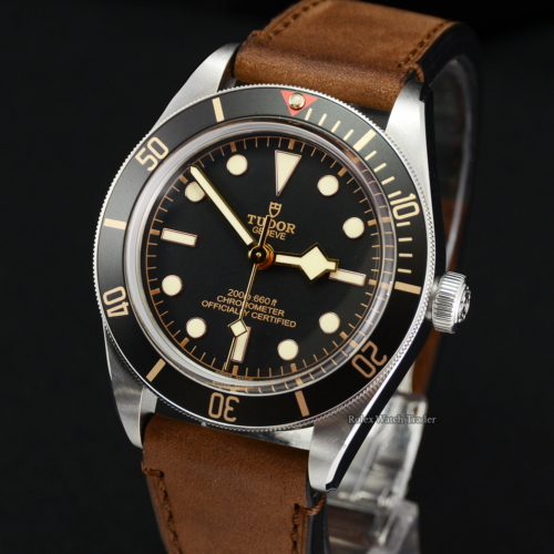 Tudor Heritage Black Bay Fifty-Eight 79030N Leather Strap For Sale Available Instantly No Waiting List Pre-Owned Excellent Condition Brown Soft Leather Strap Black Dial Diver's Bezel Buy From Rolex Watch Trader in Manchester North West UK