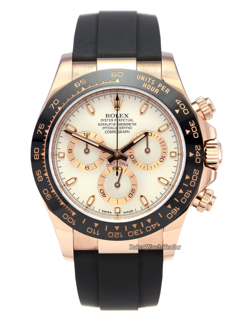 Rolex Daytona 116515LN Rose Gold Ivory Dial Oysterflex Rubber Strap Pre-Owned Second Hand Used Available For Sale To Purchase In Manchester North West UK From Rolex Watch Trader Free Next Day Delivery