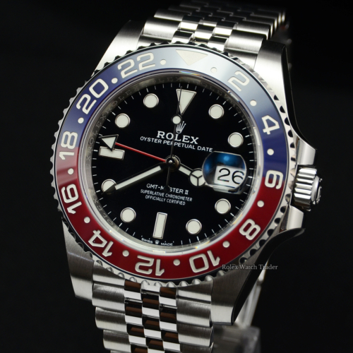 Rolex GMT-Master II 126710BLRO Pepsi with Stickers Brand New Unworn Jubilee Bracelet For Sale Available Purchase Online with Part Exchange or Direct Sale Manchester North West England UK Great Britain Buy Today