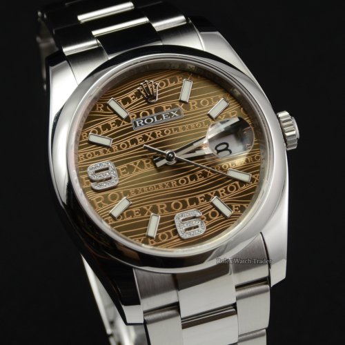 Rolex Datejust 116200 Bronze Wave Jubilee Dial 6&9 Diamond 36mm Stainless Steel Smooth Bezel Oyster Bracelet Pre-Owned Second Hand Used Box & Papers For Sale Available Purchase Online with Part Exchange or Direct Sale Manchester North West England UK Great Britain Buy Today