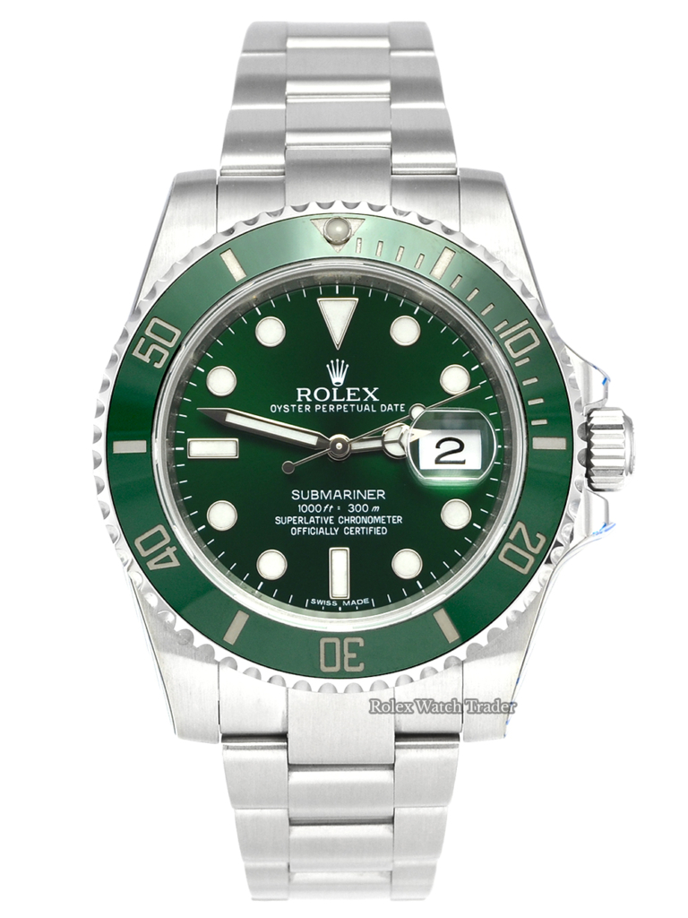 "Rolex Submariner 116610LV ""Hulk"" Serviced by Rolex with Stickers Unworn Pre-Owned Used Second Hand For Sale Available Purchase Online with Part Exchange or Direct Sale Manchester North West England UK Great Britain Buy Today"