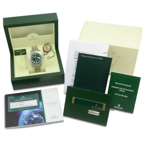 """Rolex Submariner 116610LV """"Hulk"""" Serviced by Rolex with Stickers Unworn Pre-Owned Used Second Hand For Sale Available Purchase Online with Part Exchange or Direct Sale Manchester North West England UK Great Britain Buy Today"""