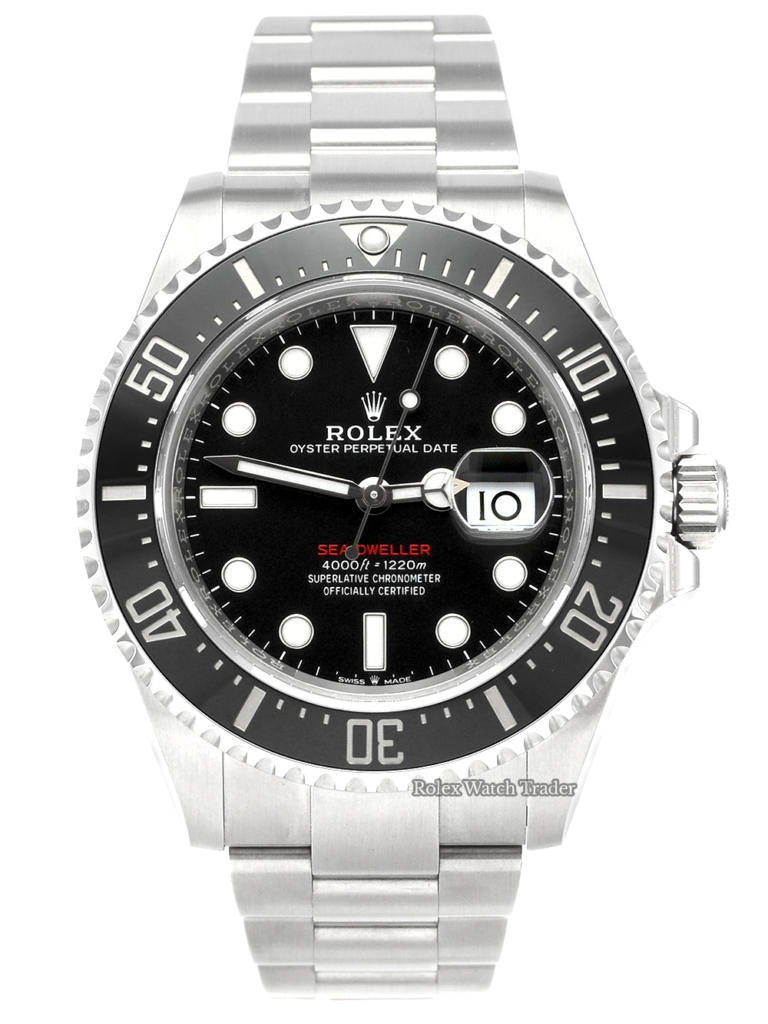 Rolex Sea-Dweller 126600 'Red Writing' 43mm UK Complete Set Pre-Owned Used Second Hand For Sale Available Purchase Buy Online with Part Exchange or Direct Sale Manchester North West England UK Great Britain Buy Today Free Next Day Delivery Warranty