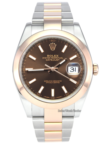 Rolex Datejust 126301 41mm Chocolate Dial Bimetal 2019 Pre-Owned Second Hand Used For Sale Available Purchase Buy Online with Part Exchange or Direct Sale Manchester North West England UK Great Britain Buy Today Free Next Day Delivery Warranty Luxury Watch Watches