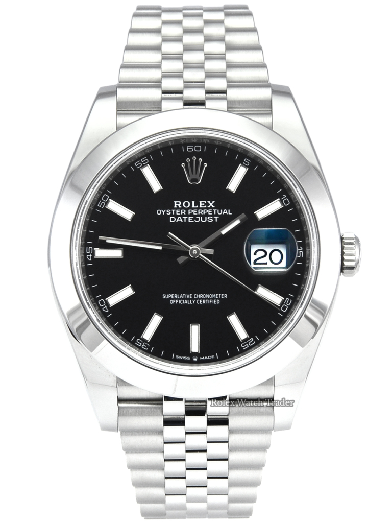 Rolex Datejust 126300 Black Baton Dial 41mm 2020 UK Pre-Owned Used Second Hand Jubilee Bracelet Smooth Bezel For Sale Available Purchase Buy Online with Part Exchange or Direct Sale Manchester North West England UK Great Britain Buy Today Free Next Day Delivery Warranty Luxury Watch Watches